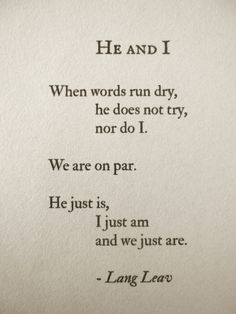 He and I by Lang Leav