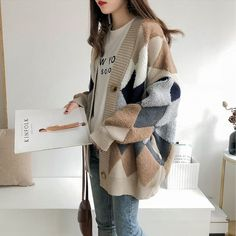 Autumn Winter splice Plaid cardigan coat 2019 Women Sweaters long-sleeve loose c. Korean Outfits, Mode Outfits, Fashion Outfits, 80s Fashion, Korean Winter Outfits, Fashion Skirts, Muslim Fashion, Female Fashion, Boho Fashion