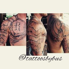 Black and grey armor tattoo by Bus at Tattoos Forever in Fort Walton Beach, Florida. Schulterpanzer Tattoo, God Tattoos, Badass Tattoos, Celtic Tattoos, Chest Tattoo, Future Tattoos, Body Art Tattoos, Sleeve Tattoos, Tattoos For Guys