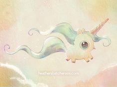 Heathersketcheroos - fat flying unicorn - too funny! Cute Little Drawings, Cute Animal Drawings, Kawaii Drawings, Easy Drawings, Unicorn Illustration, Cute Illustration, Cute Dragon Drawing, Unicorn Tattoos, Cute Dragons