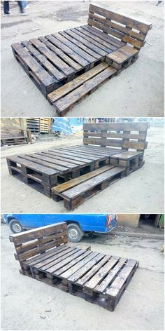 Catch away with this bed frame work that has been so rustic and simple designed . - Catch away with this bed frame work that has been so rustic and simple designed out with the wood p - Wooden Pallet Beds, Pallet Bed Frames, Diy Pallet Bed, Pallet Patio Furniture, Diy Pallet Projects, Wood Pallets, Diy Furniture, Garden Pallet, Furniture Plans