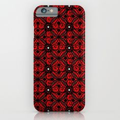 Red Gothic--  iPhone, iPod, Samsung Galaxy, cell phone, cases, accessories, skins, art, graphic design, digital art, illustration, vector, patterns, black lace, red and black, decorative, unique, pretty