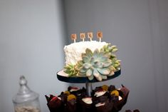 Scrabble tile cake toppers - love it!