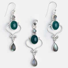 Set cercei și pandantiv Salem, argint, onix verde și labradorit, India  #metaphora #jewellery #jewelryset #silver #earrings #greenonyx #labradorite #india