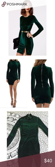 Emerald velvet dress• Look sleek and oh-so chic in this gorgeous emerald green bodycon dress! Features a high neck,long sleeves, and sexy slit to show off the right amount of leg! This is NWOT, only tried on. Tag missing!❌This was an exclusive and no longer available!❌ 🎉Bundle & Save on shipping🎉    🌹I ship same day if purchased before 4pm PST M-F (I do not trade) Missguided Dresses