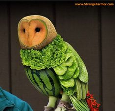 CREATIVE FOOD FUN - AMAZING OWL CARVED FROM CANTALOUPE - WATERMELON - LETTUCE LEAVES - AMAZING