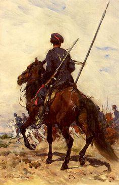 """Józef Chełmoński- """"Kozak"""" -1882 r. Olej na płótnie.   Własność -Muzeum Narodowe w Krakowie."""
