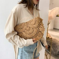 Jin Mantang 2020 New Handbag Beach Bag Woven Rattan Bag Straw Woven Leisure Wild Holiday Simple Woven Messenger Bag Travel Bag Straw Handbags, New Handbags, Fabre, Leather Pattern, Summer Bags, Look Cool, Straw Bag, Trends, Casual