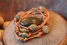 Turquoise Stone w/ Tan Leather Wrap Bracelet by loveFabulousFinds, $42.00