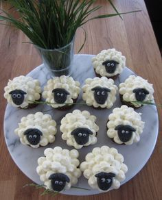 Sheepcakes - chocolate muffins with white frosting. Und Gras im Mund;) – Foo… Sheepcakes – chocolate muffins with white frosting. And grass in the mouth;] – Food & Drink – the - Party Platters, Food Platters, Best Christmas Recipes, Holiday Recipes, Food Crafts, Diy Food, Food Ideas, Food Food, Food Art For Kids