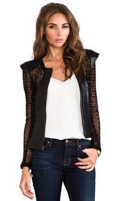 Alexis Laurence Jacket With Back Zipper and Leather Details in Geometric Black | REVOLVE