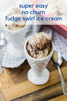 No need for special equipment, you can easily whip up your own creamery delight: homemade fudge swirl ice cream, with only four ingredients!