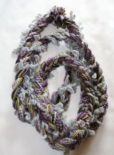 Soft Purple Grey and Lime Braided Infinity by EntertainingDelights