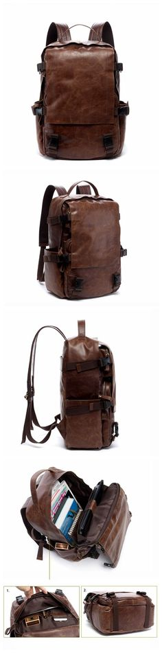 Vintage Style Full Grain Leather Backpack Travel Backpack Rucksack