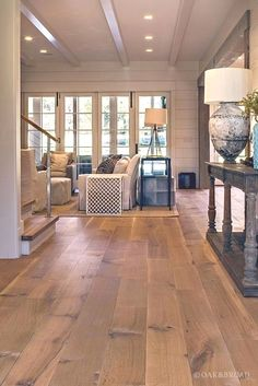 Nashville Tennessee Wide Plank White Oak Flooring - Wide Plank White Oak Hardwood Floor by Oak and Broad with Custom Stain Wide Plank Laminate Flooring, Types Of Wood Flooring, Oak Hardwood Flooring, Flooring Ideas, Unique Flooring, Wood Planks, Maple Flooring, Farmhouse Flooring, Flooring 101