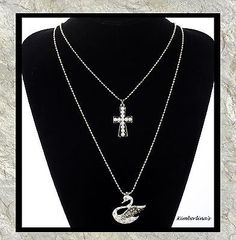 NEW-DOUBLE-ROW-GOLD-TONE-CROSS-SWAN-CRYSTAL-PEARL-PENDANT-NECKLACE