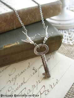 LOVE NEST - Antique Key Necklace. Vintage Skeleton Key Necklace with Silver Birds. Rustic Garden Necklace. Romantic Upcycled Jewelry..