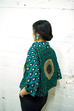 1950s inspired African print cropped jacket ~African Prints, African women dresses, African fashion styles, African clothing, Nigerian style, Ghanaian fashion