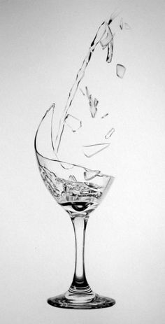 Glass & Water Drawing by Pepei (Poland)