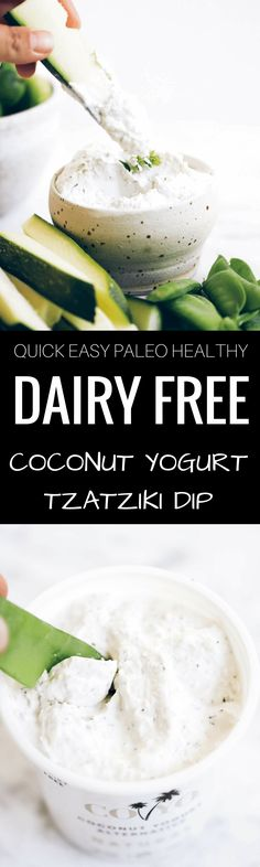 Healthy dairy free tzatziki dip made with coconut yogurt (it's thick like greek yogurt!!). Made in just a few minutes. Delicious for topping off all your favorite meals or dippings with veggies sticks. Paleo and whole30 friendly.