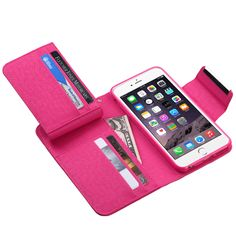 MYBAT Hot Pink D'Lux MyJacket Wallet (with Magnetic Closure) (683) (with Package)-iPhone 6 Plus MyJacket / Pouches MyJacket Wallet(Phone)