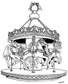 21 Best Coloring Pages: Advanced Carousel Horses images
