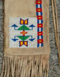 Native American Style Pipe Bag  Flute Bag or Tobacco Bag of Beaded Buckskin Leather with Long Fringe