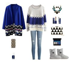 """Contest: Blue & Gray Geometric Outfit"" by billsacred ❤ liked on Polyvore featuring Palm Beach Jewelry, Current/Elliott, Casetify, Estée Lauder, Valentino, Essie, UGG Australia, Clinique, MAC Cosmetics and women's clothing"