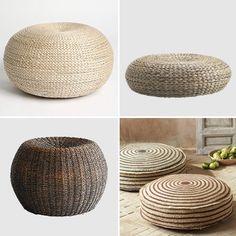 Seagrass Floor Cushions contemporary pillows for living area Floor Pillows Kids, Floor Cushions, Sisal, Wicker Ottoman, Ottoman Footstool, Ottomans, Contemporary Decorative Pillows, Bamboo Furniture, Furniture Ideas