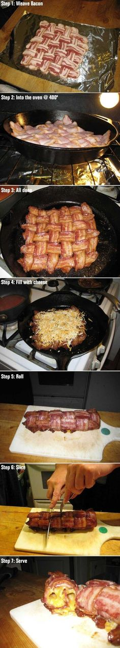 The Cheesy Bacon Log | 11 Ways To Cook Bacon That Will Probably Kill You