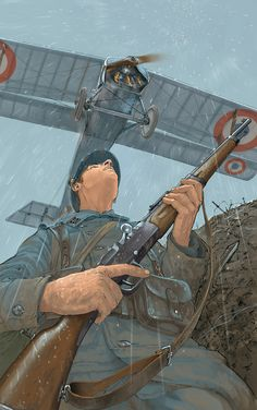 French infantryman as plane flies overhead.