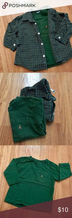 BABY 🌟HP🌟Gap/Old Navy Tops 🌟Host Pick Everything Kids 5/28🌟 100% cotton plaid button down shirt (Old Navy) & Long sleeve tee (Gap). They are different sizes but my son wore them together. Brand logos are on both tops. Plaid shirt is 2T, green top is 18-24 Months. My child's name in marked out on the tags of both items. Great condition. GAP Shirts & Tops