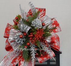 Christmas Swag with Snowflake ribbon, Lantern Swag, Christmas Lantern Swag, Holiday Swag, Holiday Table, Christmas Mantel
