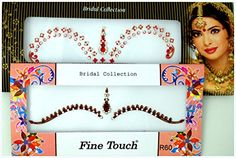 """Crystal Stones Bridal Collections Bindi Tattoo Stickers Stylish Body Adhesive Jewelry(R60). Crystal Stones Bridal Collections Bindi Tattoo Stickers Stylish Body Adhesive Jewelry. Self adhesive Tatto stickers , apply on a clean dry skin . Traditional Asian Indian Party wear and Routine wear.Simple to use, reusable by sticking with eyelash adhesive or any other body safe glue. TO SEE MORE BINDI DESIGNS PLEASE CLICK """"Fancy Bindis by Golden India"""" BELOW THE TITLE. FOR size idea approximately..."""