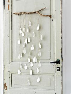 Diy raindrop mobile.... Would look really cool painted water coloured ombréd turquoise and blues