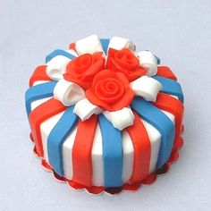 Red, White & Blue - dollhouse miniature cake by Blue Kitty Miniatures, via Flickr