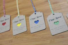 "12 tags in carta kraft Mod. ""ColorHeart"" : Bomboniere di paperart"