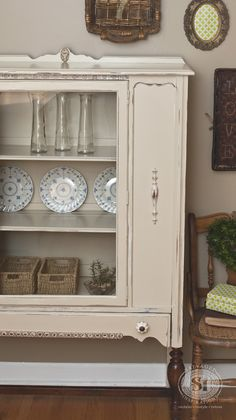 These old cabinets are so versatile they look good anywhere. I'd love to have this cabinet in my bathroom for my towels. perfumes, bath balms and stuff! | Refinished in General Finishes Linen and High Performance Satin