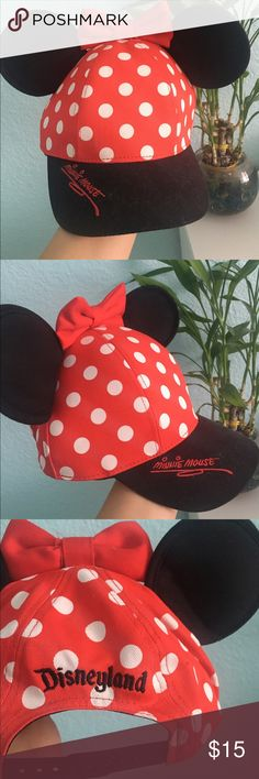Minnie Mouse SnapBack Ears I've only used this hat a few times. I had an annual pass to Disneyland but no longer have one, so that's the reason why I'm selling. If you want any pictures or would like me to model it, I'd love to! Just let me know! It's in amazing condition too. I've adjusted the price from $25 to $13, and I won't go lower. I only wore this hat three times total Disney Other
