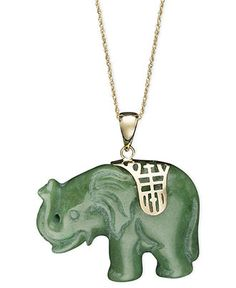 Jade /& Vintage Brass Elephant Necklace
