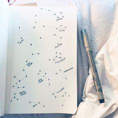 Constellations - the stars that night Bullet Journal Inspiration, Journal, Sketch Book, Drawings, Wreck This Journal, Doodles, Art, Artsy, Art Journal