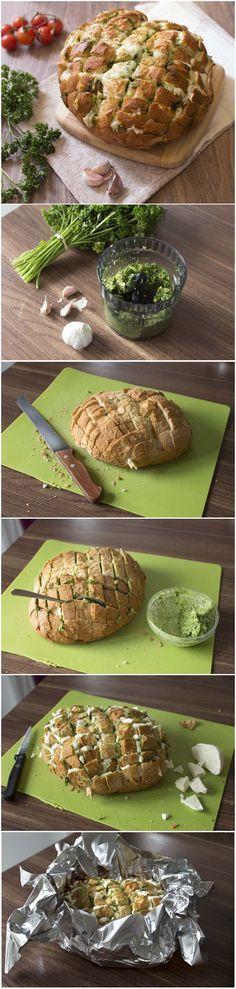 Pain au beurre d'ail persil et mozzarella (DIY): technique étape en photos pas à pas en images