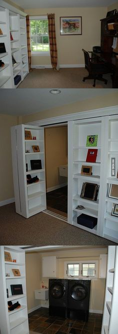Hidden bookshelf door - basement laundry room