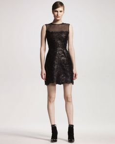 Valentino Cutout Leather Dress in Black