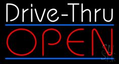 White Drive-Thru Red Open Neon Sign 20 Tall x 37 Wide x 3 Deep, is 100% Handcrafted with Real Glass Tube Neon Sign. !!! Made in USA !!!  Colors on the sign are White, Red and Blue. White Drive-Thru Red Open Neon Sign is high impact, eye catching, real glass tube neon sign. This characteristic glow can attract customers like nothing else, virtually burning your identity into the minds of potential and future customers.