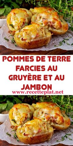 Potatoes stuffed with gruyère and ham Fun Easy Recipes, Vegan Recipes, Easy Meals, Cooking Recipes, Potato Recipes, Vegetable Recipes, Chicken Recipes, Twice Baked Potatoes, Vegan Dinners