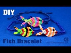 Colorful Fish Bracelet Tutorial | Macrame School - YouTube