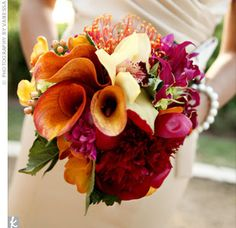 bridal cockscombs Bouquet | An Outdoor Wedding - Very different from Melissa's bouquet, the ...