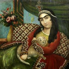 Lady with the cat | Qajar-Persia. (c. 1840)
