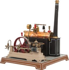 GERMAN LIVE STEAM MODEL POWER PLANT TOY BY DOLL 17 x 14-1/2 x 14-1/2 inches (43.2 x 36.8 x 36.8 cm) Well engineered and restored horizontal boiler plant by Doll, circa 1900.